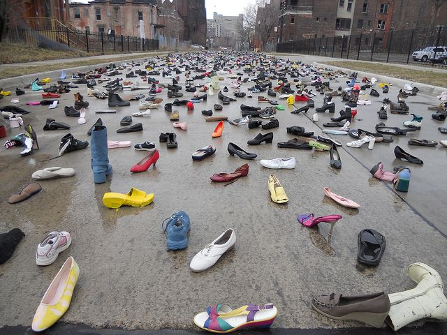 Shoe installation. from Guyton's Heidelberg Project-Detroit. Photo by justbeamensch