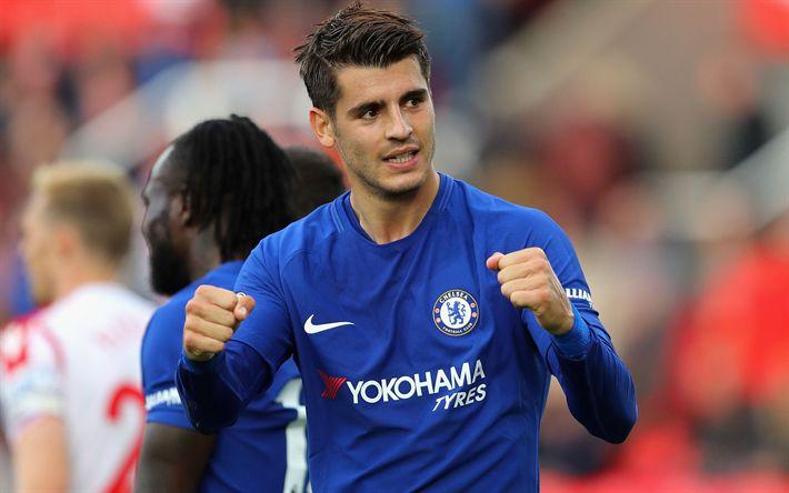 Download wallpapers Alvaro Morata, Chelsea, match, footballers, Premier League, soccer, Chelsea FC