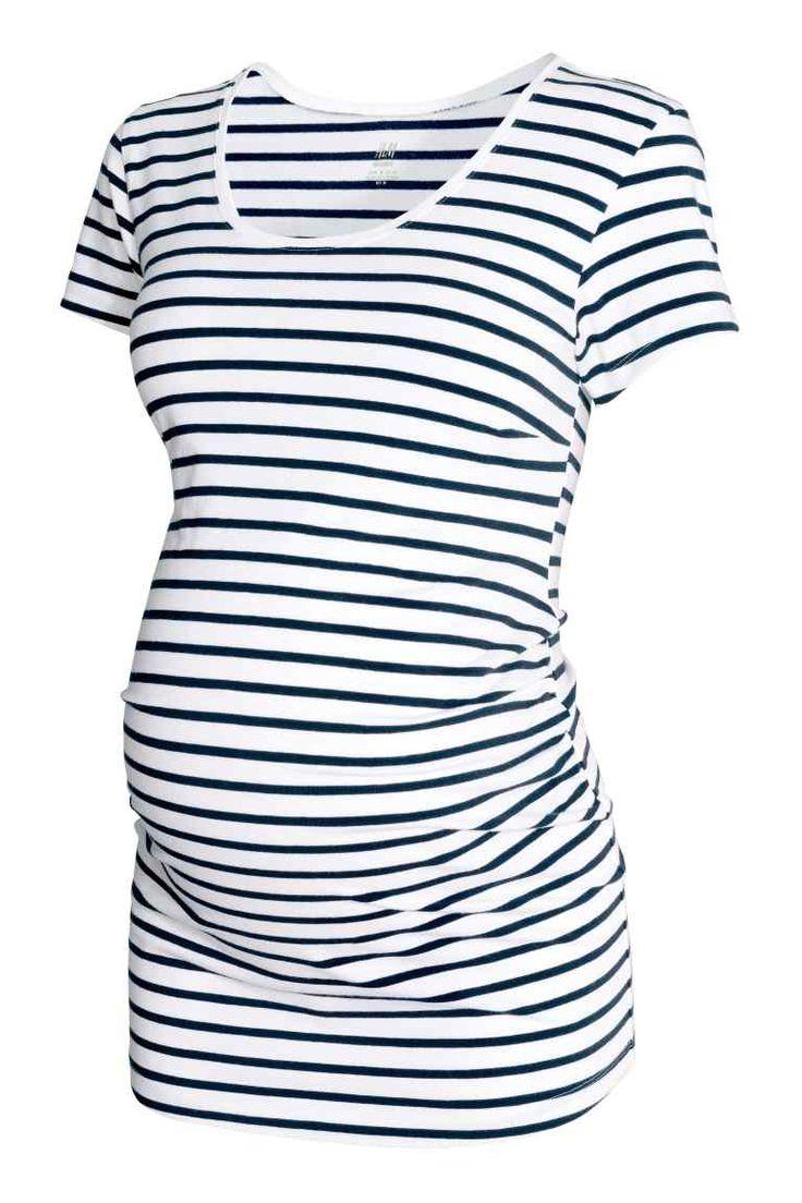 MAMA Jersey top - White/Dark blue/Striped - Ladies | H&M GB
