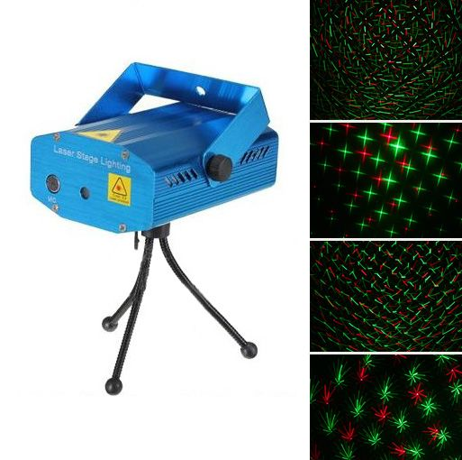 Mini R&G Laser Light Lighting Projector Portable DJ Disco Stage Light