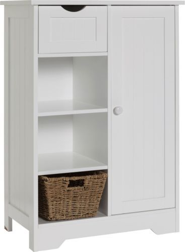 Shaker Slimline Storage Unit With Cupboard White EBay