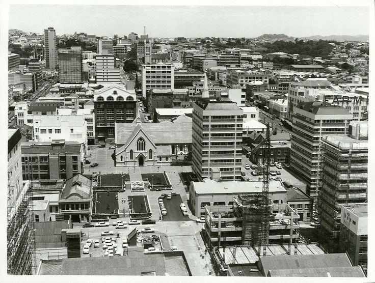 itle: Auckland City  Publicity Caption: Part of downtown city photographed from Custom Street West towards Central Police station (the aerial tower is on the skyline in centre of picture). St. Patrick's in centre foreground.  Photographer: G. Riethmaier   December 1975, Auckland  Archives New Zealand Reference: AAQT 6539 W3537 158 / B8926 www.archway.archives.govt.nz/ViewFullItem.do?code=24811496  For further enquiries please email research.archives@dia.govt.nz  Material fr...