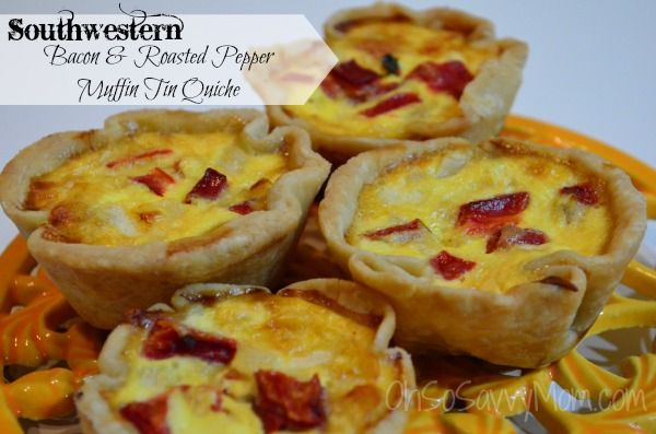 This Southwestern Bacon and Roasted Red Pepper Muffin Tin Quiche was wonderful! Many of the muffin tin quiche recipes I've seen are crustless. Not this one