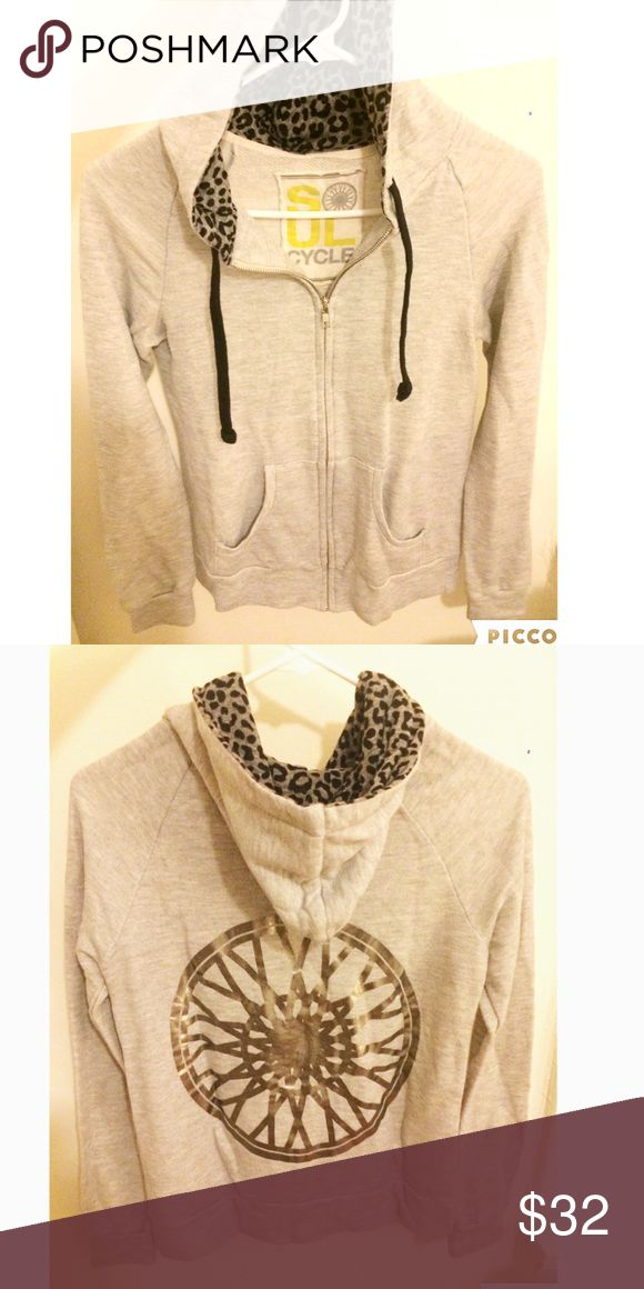 SoulCycle Metallic silver wheel Hoodie SoulCycle metallic silver wheel hoodie. Zip it up. Size Small. Great conditions, wore once! soulCycle Tops Sweatshirts & Hoodies