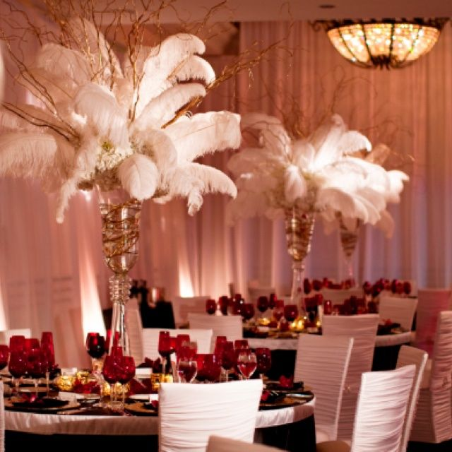 pintrest feather decoration | Feather centerpieces | 1920's Ballroom/Art Deco Wedding