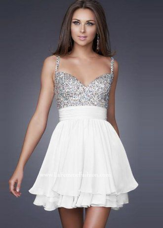 White Homecoming Dresses with Straps