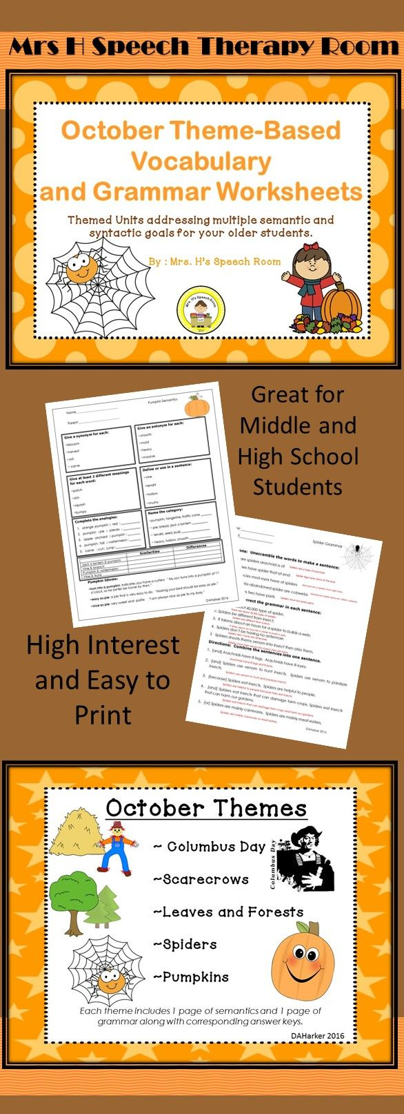 These fun theme-based worksheets address so many language goals in an easy to copy format. 5 timely themes and provides 2 in depth learning pages and answer keys for each theme. Page 1 addresses synonyms, antonyms, multiple meaning words, definitions, analogies, categorization, comparing and contrasting and idioms. Page 2 addresses word ordering, grammatical editing, and combining sentences while incorporating interesting facts about the theme. Answer keys are provided.