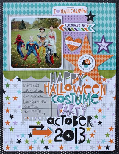 Bella Blvd Halloween Magic Collection. Costume Party layout by DT member Kelly Holbrook