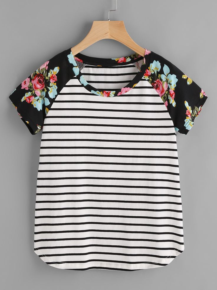 Shop Floral Raglan Sleeve Striped Curved Hem Tee online. SheIn offers Floral Raglan Sleeve Striped Curved Hem Tee & more to fit your fashionable needs.