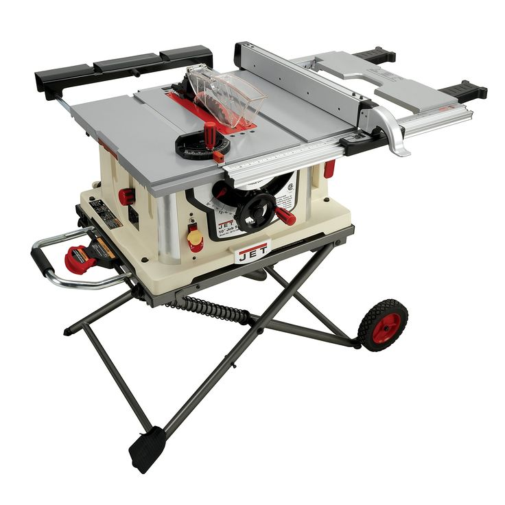 Jet JBTS-10MJS 10-Inch Jobsite Table Saw. Heavy-duty 15-Amp motor with soft-start. European-style riving knife and anti-kickback pawls meet UL standards, prevent kickback. Easy-folding wheeled stand for convenient storage, quick set-up and portability. Riving knife with anti-kickback pawls for safety. Weighing in at just under 100-Pound.