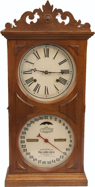 Antique Ithaca Calendar Wood Mantle Clock