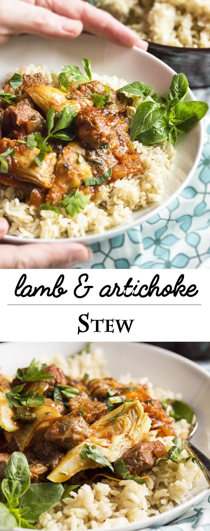 Lamb and Artichoke Stew - I love this Greek inspired spring stew full of lean lamb, artichokes, tomatoes, and plenty of fresh oregano. Serve it over rice or with some crusty bread to soak up the sauce.   justalittlebitofbacon.com