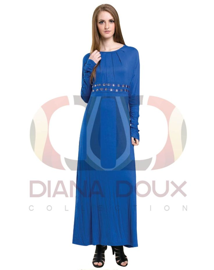 OWJ127-38  Round Neck Jubah Dress with Bead Waist  Color: Blue Size: FREE SIZE Weight: 430g Material: Cotton Measurement : > Shoulder: 40cm  > Sleeve: 68cm  > Length: 134cm  > Bust: 100-112cm Category: Jubah Dress Type: Ready Stock