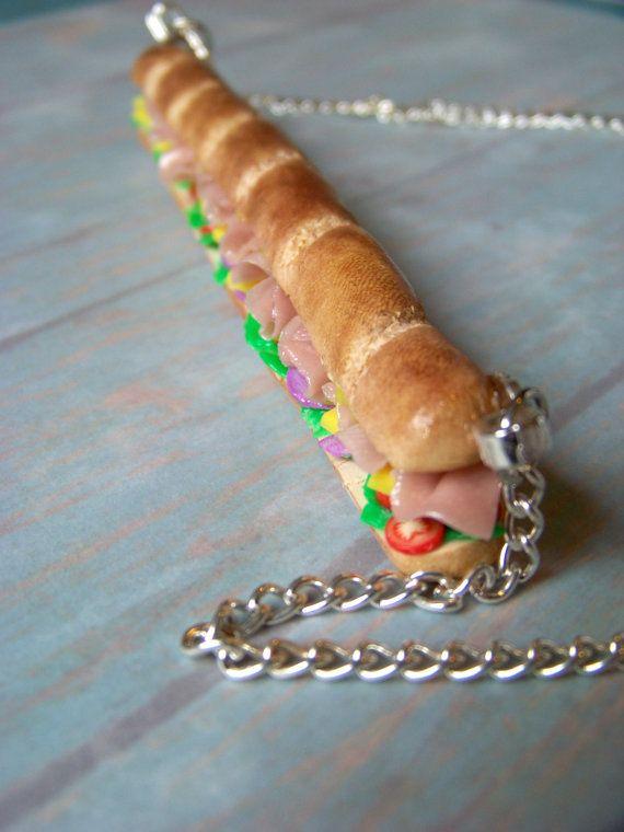 Miniature Food Jewelry Super Sub Sandwich by kawaiibuddies on Etsy, $45.00