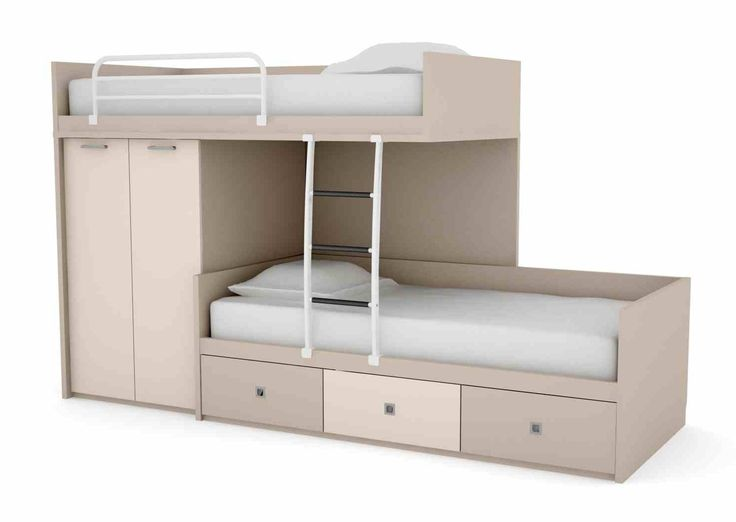 Step Shape Grey And Cream Combine Space Saving Bunk Beds With Twin White Bedding And Some Shelves Feat Closet Underneath At Exciting Furniture