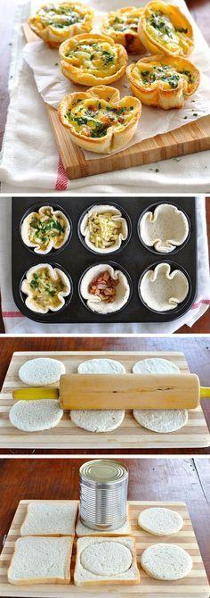 Mini Quiche Lorraine. Mini quiches feitos com pão de sanduiche! Preenchidos com bacon, queijo e ovo. Uma delícia!