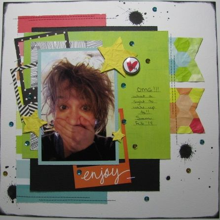 scrapbook layout, Creative Scrappers, Scrap Our Stash, 123 Get Scrappy, Crop and Create Delivered Summer 2014 Kit