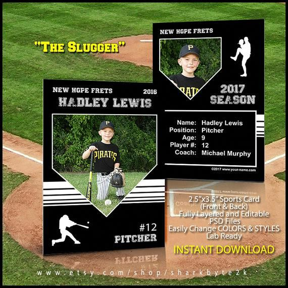 Baseball Card Template Perfect For Trading Cards For Your Etsy Baseball Card Template Trading Card Template Baseball Trading Cards