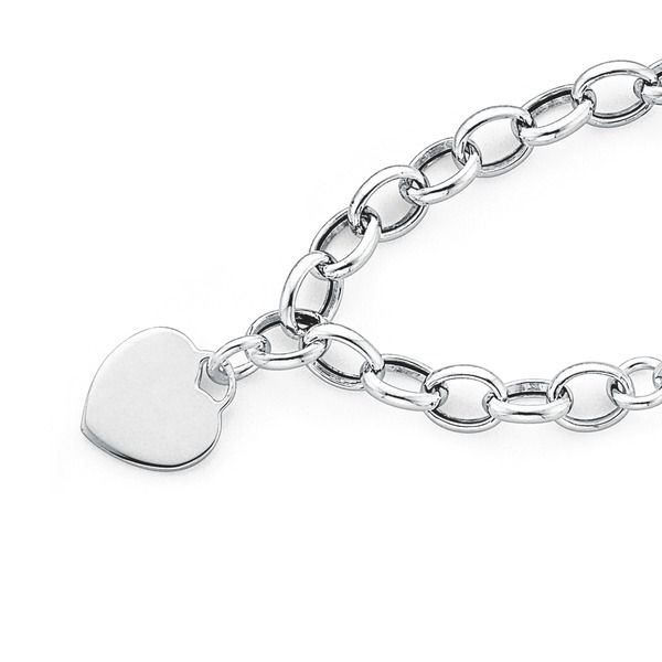 Sterling Silver 19cm Bracelet with Heart Disc | Pascoes The Jewellers