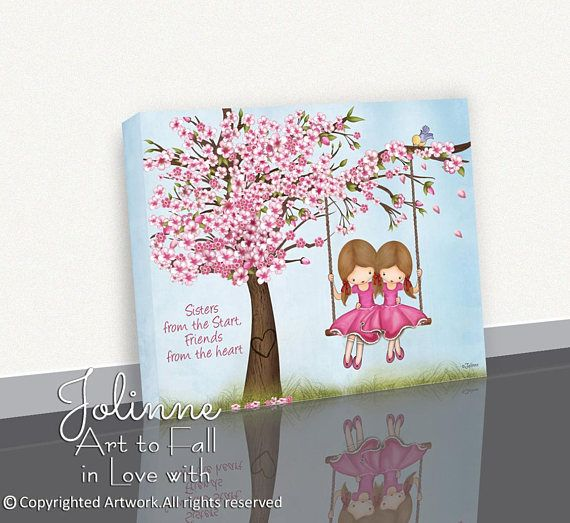 Girls Room Decoration Canvas Printcherry Blossom Sisters Room Etsy Nursery Art Girl Nursery Art Personalized Wall Art