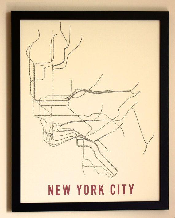 "NYC Typographic Transit Map 17"" x 22"""