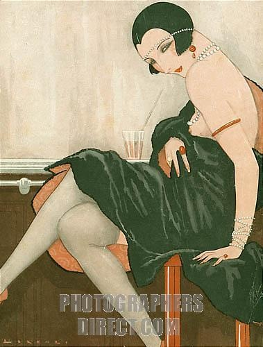 Bar Girl, 1920s French art deco   ART: LORENZI  (Alice Simpson's BALLROOM (HarperCollins)