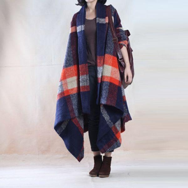 Loose Plaid wool coat woolen winter coat - Tkdress  - 1
