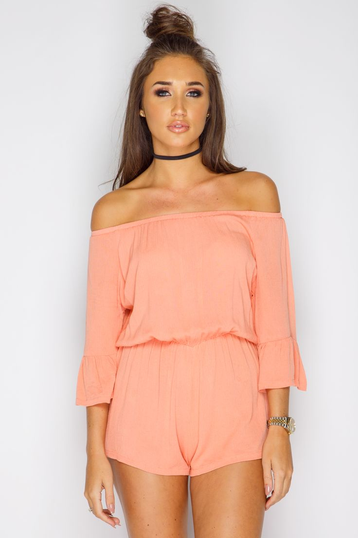 Megan McKenna Coral Off The Shoulder Playsuit at misspap.co.uk