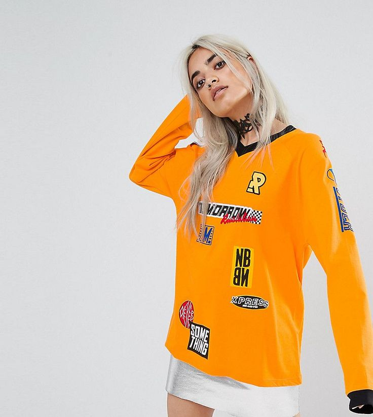 ASOS PETITE Top with Long Sleeve and Branding Badges - Orange