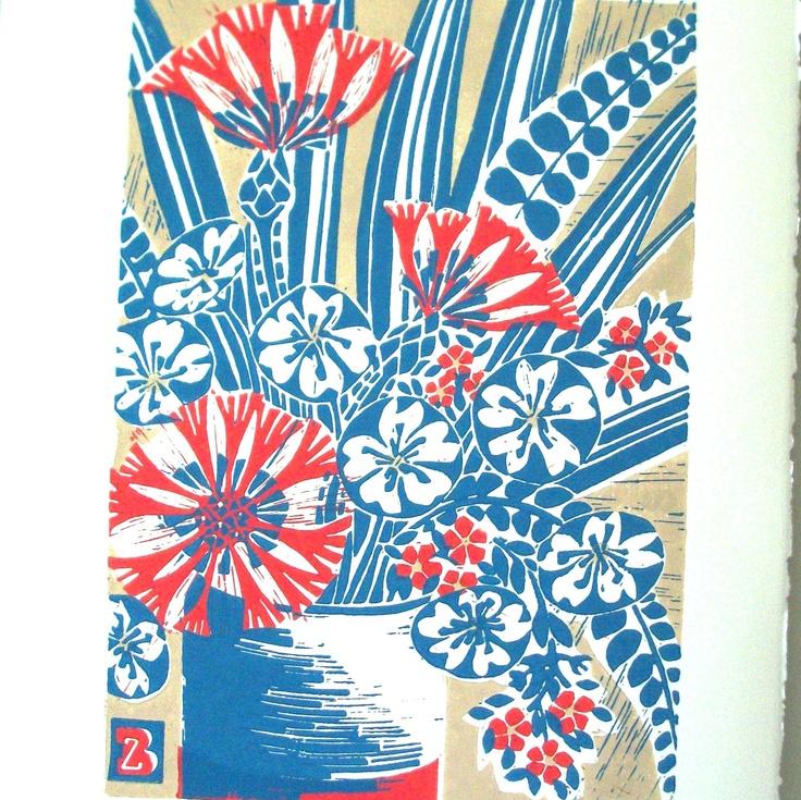 Vase Of Flowers Linocut Print Floral In 2019 Linocut Prints Flower Vases Flowers