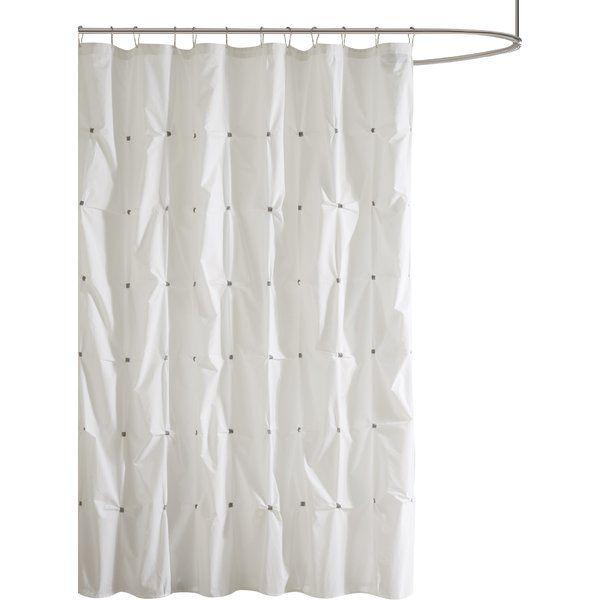 Ellesmere Port Cotton Single Shower Curtain White Shower Curtain