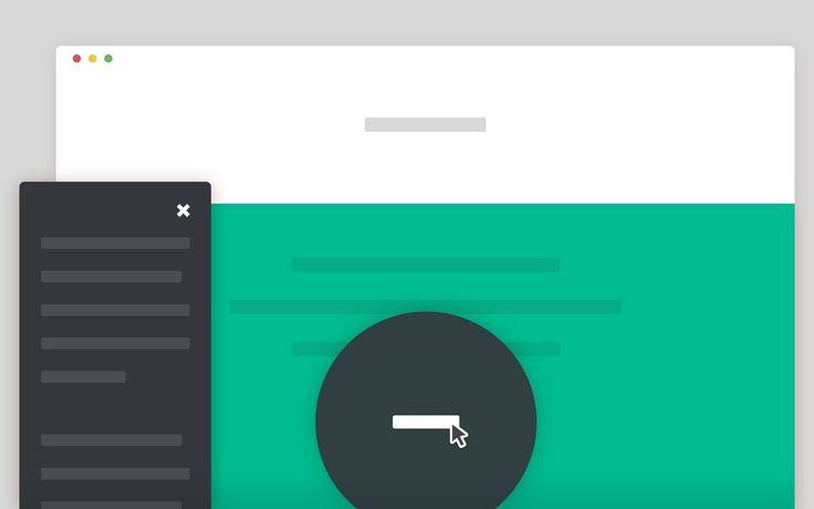 bouton d'appel qui s'anime et se transforme en une fenêtre modale plein écran.