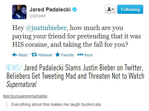 """""""Supernatural fans vs Beliebers"""" They had no chance… (PS FOUR FOR YOU, JARED PADALECKI! YOU GO, JARED PADALECKI!)"""