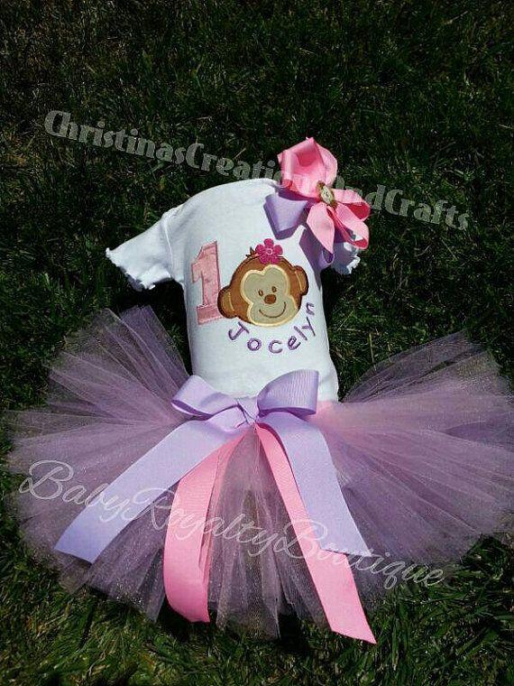 Monkey Birthday Girl Tutu Shirt and Bow by BabyRoyaltyBoutique, $50.00