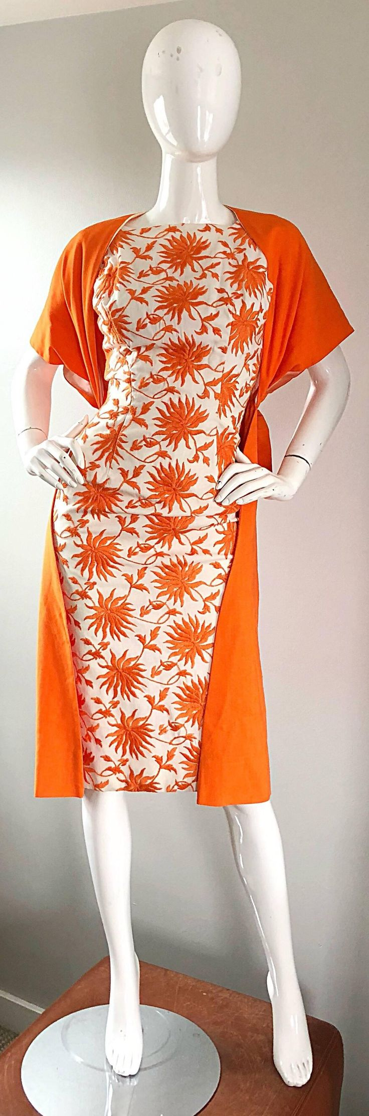 1950s Demi Couture Orange   Ivory White Vintage 50s Wiggle Dress and Jacket Set | From a collection of rare vintage evening dresses and gowns at https://www.1stdibs.com/fashion/clothing/evening-dresses/