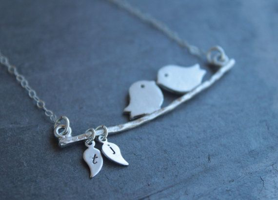 <3Silver Necklaces, Valentine Day Gift, Wedding Gift, Personalized Necklaces, Gift Ideas, Sterling Silver, Mothers Day Gift, White Gold, Lovebird Swings