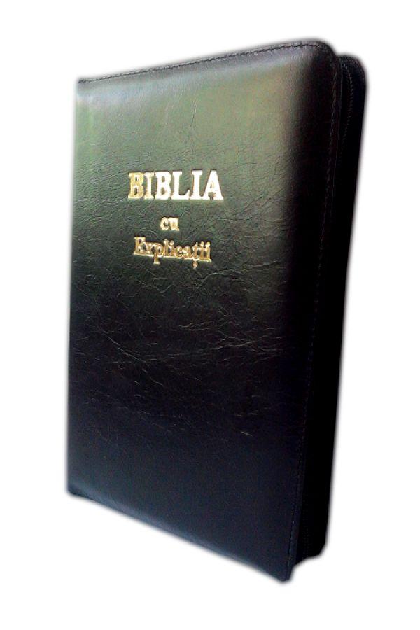 Biblia cu explicatii si concordanta biblica, din piele, bleumarin, cu fermoar [77 PF]