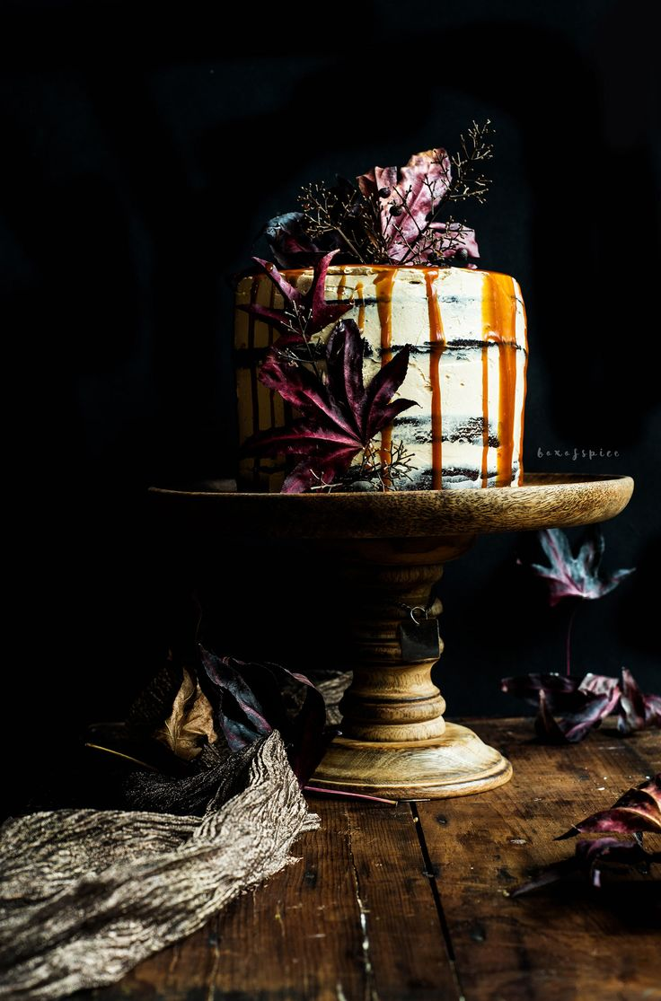 Spiced Whiskey Chocolate Cake with Whiskey Caramel Frosting