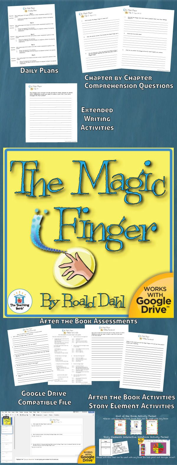 The Magic Finger Novel Study is a Common Core Standard aligned book unit to be used with The Magic Finger by Roald Dahl. This download contains both a printable format as well as a Google Drive™ compatible format.
