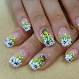 Floral Nail Designs: White Flowers, Summer Nails Design, Nailart, Spring Nails, Naildesign, Summer Nails Art, Flowers Nails, Nails Art Design, Nail Art