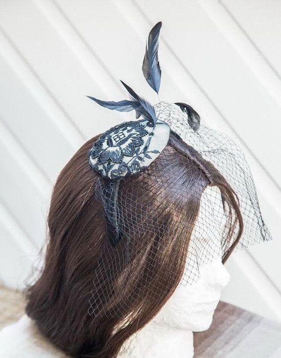 Black headband hair fascinator feather hat Aliceband by Irera