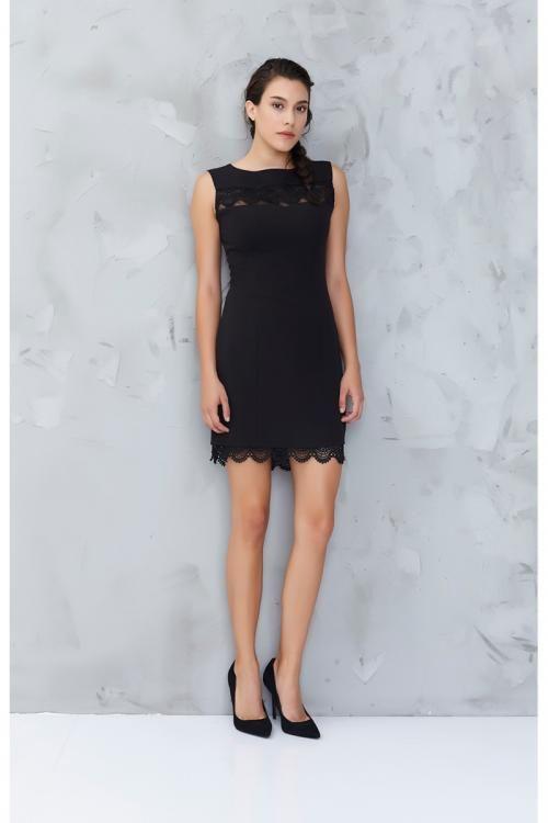 Siyah Dantel Detaylı Abiye Elbise - Fotoğraf