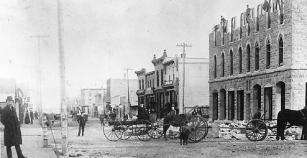 Eighth avenue.  The construction of the Alberta Hotel on Eighth Avenue, better known as Stephen Avenue, circa 1888.