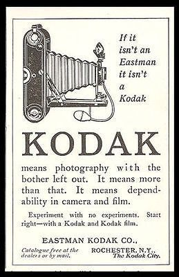"""paperinkgraphics id:5402s Antique Kodak Camera AD ORIGINAL Period Magazine Advertisement. SMALL Size Ad measures approximately 2.75"""" x 4.5"""". You are purchasing a paper advertisement removed from a mag"""