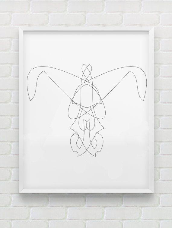 Clean Line Print - Geometric Rabbit Face by HHannahHHanes on Etsy  hannahchristenmichau.wix.com/hannahmichaud7