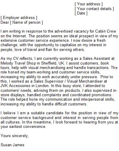 professional cover letter and writing service for cabin crew position with experience