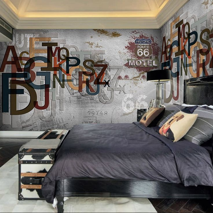 Free Shipping 3D solid English letter gray wall wallpaper relief clothing store…