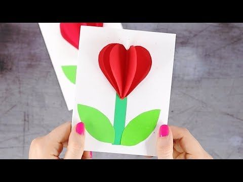 How To Make 3d Heart Flower Valentines Day Card Youtube