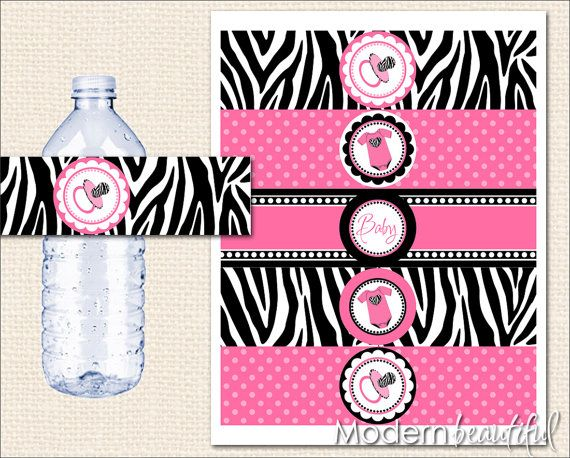 Zebra Baby Shower Printable Water Bottle Labels by ModernBeautiful, $8.00