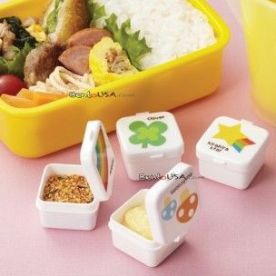 I love this! Japanese Bento Box Accessories Sauce Container set of 4 Mayo Cup Happy